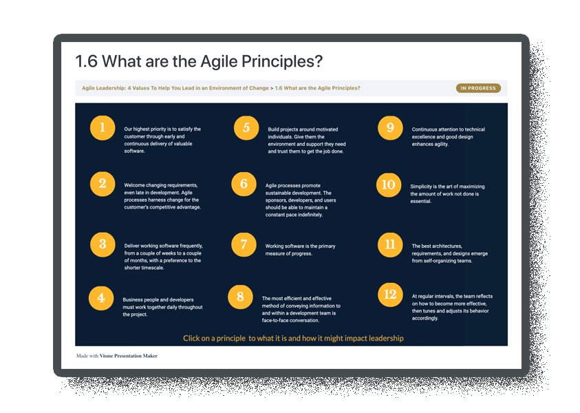 screenshot of agile principles exercise