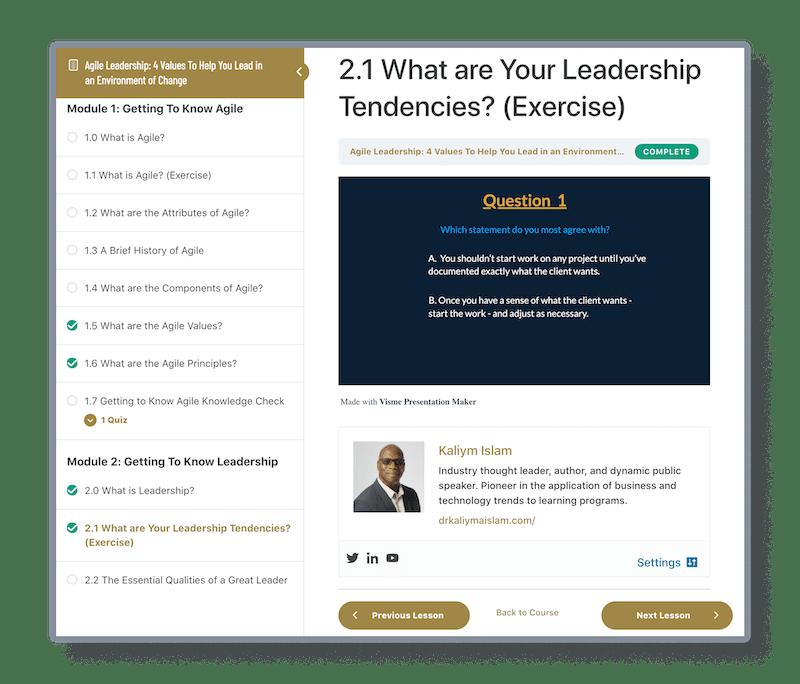 sample of agile leadership course